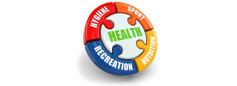 Round image showing an info graphic on sports hygiene, nutrition and recreation